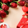 Valentine's frame with red roses and vintage paper — Stockfoto #19793875