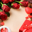 Valentine's frame with red roses and vintage paper — ストック写真 #19793875