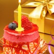 colorful birthday cake with candle — Stock Photo