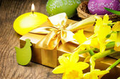 Easter setting with gift box — Stock Photo