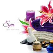 Spa setting in purple tone — Stock Photo