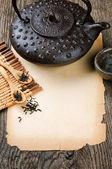 Rama starodawny papieru i herbata — Zdjęcie stockowe