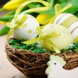 Royalty-Free Stock Photo: Easter eggs in holiday setting