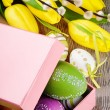 Colorful Easter eggs in gift box — 图库照片