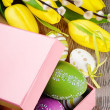 Colorful Easter eggs in gift box - Stock Photo