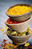 Stack of colorful mix of spices — Stok fotoğraf