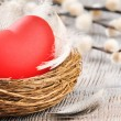 Red heart in the nest with feathers - Stockfoto