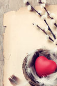 Vintage frame with red heart — Stock Photo