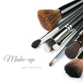 Various makeup brushes — 图库照片
