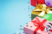 Colorful birthday gift boxes — Stock Photo