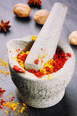 Mortar with chili pepper and curry powder — Stock Photo