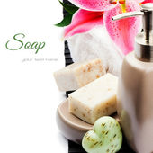 Organic soap and towel — Stock Photo