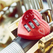 Stock Photo: Heart shaped padlock at love bridge in Paris