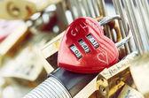 Heart shaped padlock at love bridge in Paris — Stock Photo
