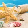 Bottle with message and shells. Vacation concept — Stock Photo