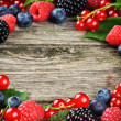 Summer frame with fresh colorful berries — Stock Photo