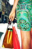 Young female holding shopping bags — Foto Stock