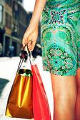 Mladá žena hospodářství nákupní tašky — Stock fotografie