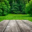 Wooden table with green nature background — Stock Photo