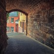 Stock Photo: Arched pedestritunnel in small Europecity