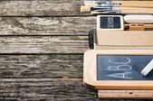 School supplies in brown tone — Stock Photo