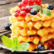 Belgian waffles with fresh berries — Stock Photo
