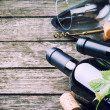 Bottles of red and white wine — Stock Photo #32248693