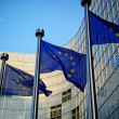 EU flags in front of European Commission — ストック写真