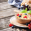 Bowl with cereals and fresh berries — Stock Photo