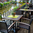 Cafe terrace on riverside — Stok fotoğraf