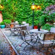 Cosy cafe terrace in Bruges — Stockfoto #33558639
