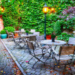 Cosy cafe terrace in Bruges — Stock fotografie