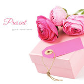 Gift box with pink peonies — Stock Photo