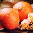Stock Photo: Autumn still-life with pumpkins