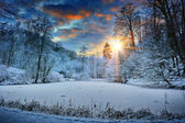 Sunset over winter forest lake — Stock Photo