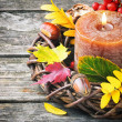 Stock Photo: Autumn wreath with candle