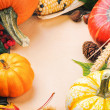 Autumn frame with pumpkins, corn and leaves — Stock Photo