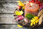 Autumn wreath with candle — Stock Photo