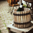 Ancient wooden wine press — Stock Photo
