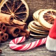 Christmas setting with festive spices and candy cane — Stock Photo #35158985