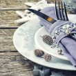 Stock Photo: Christmas table setting in silver tone