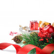 Setting with Christmas decorations — Stockfoto