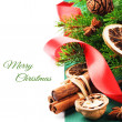 Christmas spices in festive setting — Foto Stock