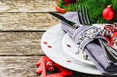 Configuração de mesa de natal — Foto Stock