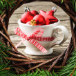 Christmas ornaments in festive setting — Stock Photo