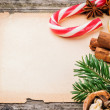 Festive Christmas frame with vintage paper — Stockfoto