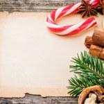 Festive Christmas frame with vintage paper — Foto de Stock