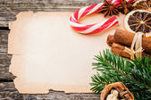 Festive Christmas frame with vintage paper — Stock Photo
