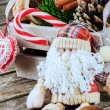 Christmas setting with Santa Claus — Stock Photo
