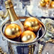 Christmas table setting with champagne — Stockfoto #37146837